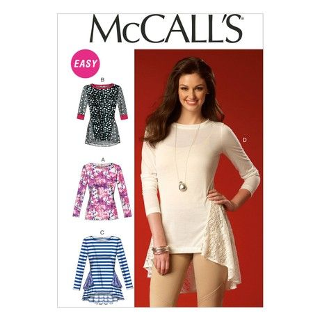 McCall's Patterns MC7019 A5 Sizes 6/ 8/ 10/ 12/ 14 Misses Tops, White
