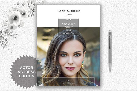 Actor/Actress Resume Template | Word by DocumentFolder on @creativemarket
