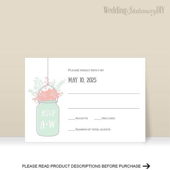 Mason jar Wedding rsvp template Rustic by WeddingstationeryDIY