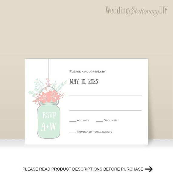 Mason jar Wedding rsvp template Rustic by WeddingstationeryDIY