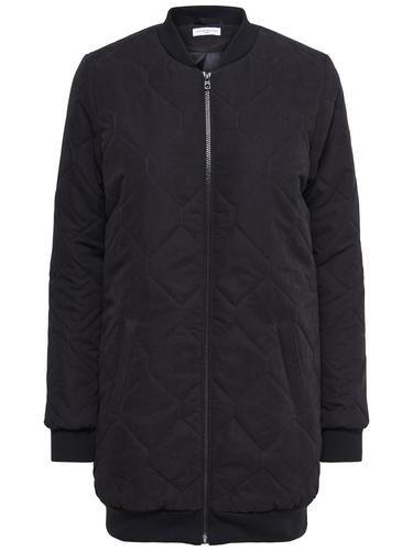 - Lange Jacke von JACQUELINE de YONG - Komplett gesteppt - Reißverschluss bis zum Abschluss - 2 Paspel-Fronttaschen - Ripp an Ausschnitt, Abschluss und jedem Ärmelende - Länge: 87 cm in Größe M