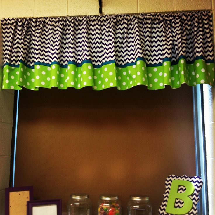Chevron and polka dot curtains for my classroom. Used the extra fabric and mod podge for the frame too!