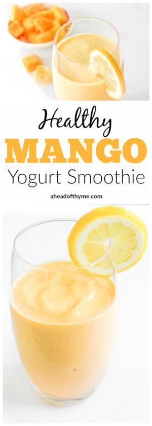 Healthy Mango Yogurt Smoothie: Tropical mango chunks mixed with low-fat yogurt creates an amazingly delicious and healthy mango yogurt smoothie, just in time for summer | aheadofthyme.com