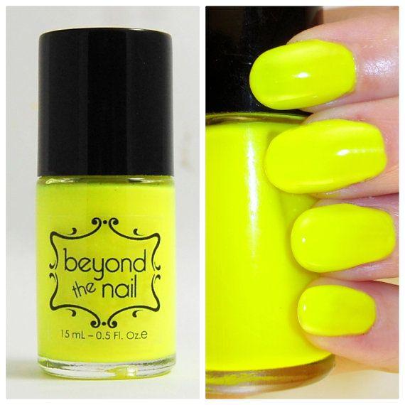 Neon Yellow Nail Polish  UV Reactive by beyondthenail on Etsy, $8.00