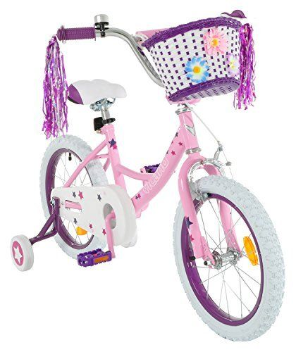 Product review for Vilano Girl's 14 Inch Bike with Training Wheels and Basket - The Vilano girl's bike is an ideal bike for beginning riders. It has a durable steel frame and wide tires for comfortable riding. The fully enclosed chainguard protects young riders. The included heavy duty training wheels provide stability. It even comes with a bell and...