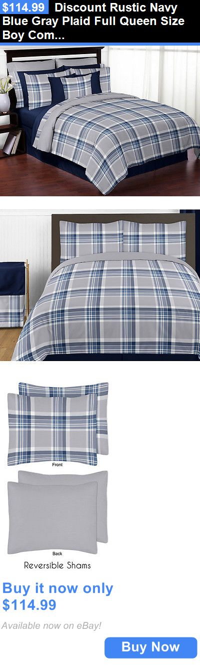 Kids Bedding: Discount Rustic Navy Blue Gray Plaid Full Queen Size Boy Comforter Bedding Set BUY IT NOW ONLY: $114.99