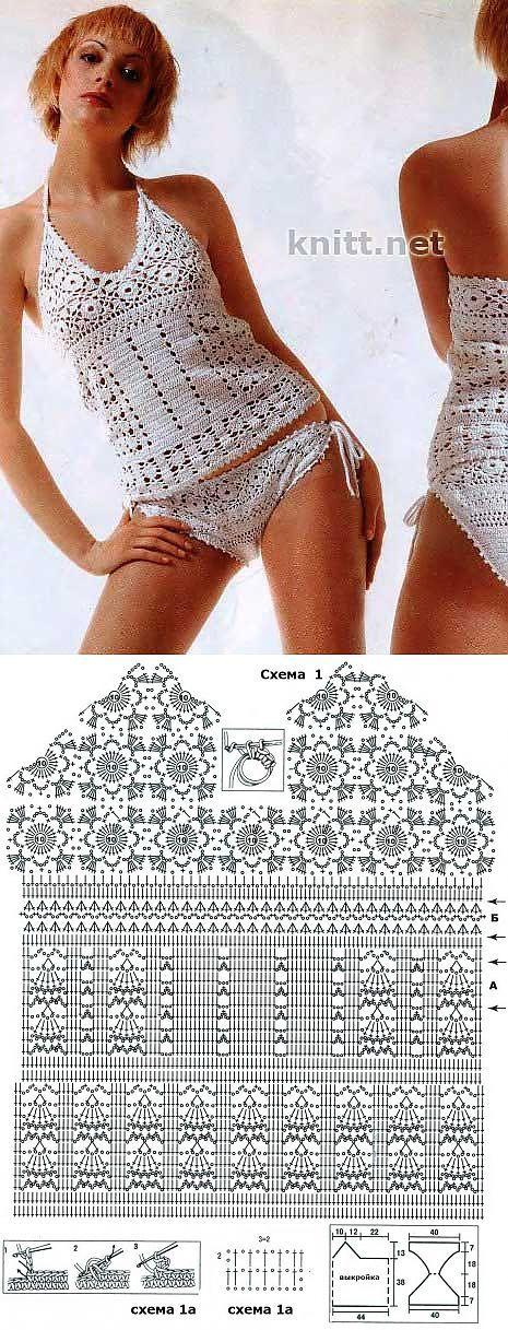 Top met bikinibroekje gehaakt met diagram