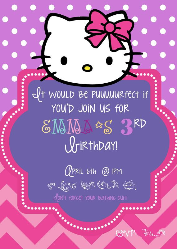Hello Kitty birthday invitation by TheLaughingLadybug on Etsy, $15.00