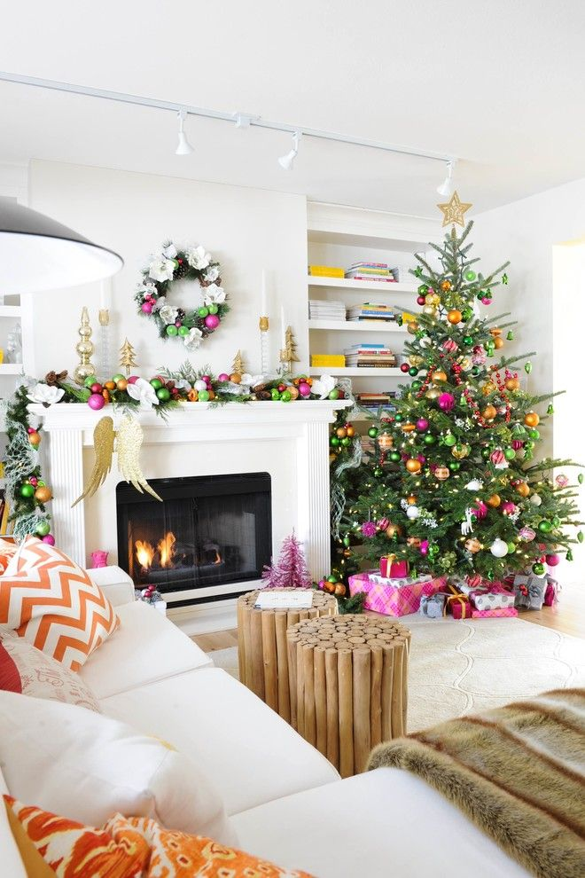 christmas tree decor white orange festive decorating pink modern chic glam