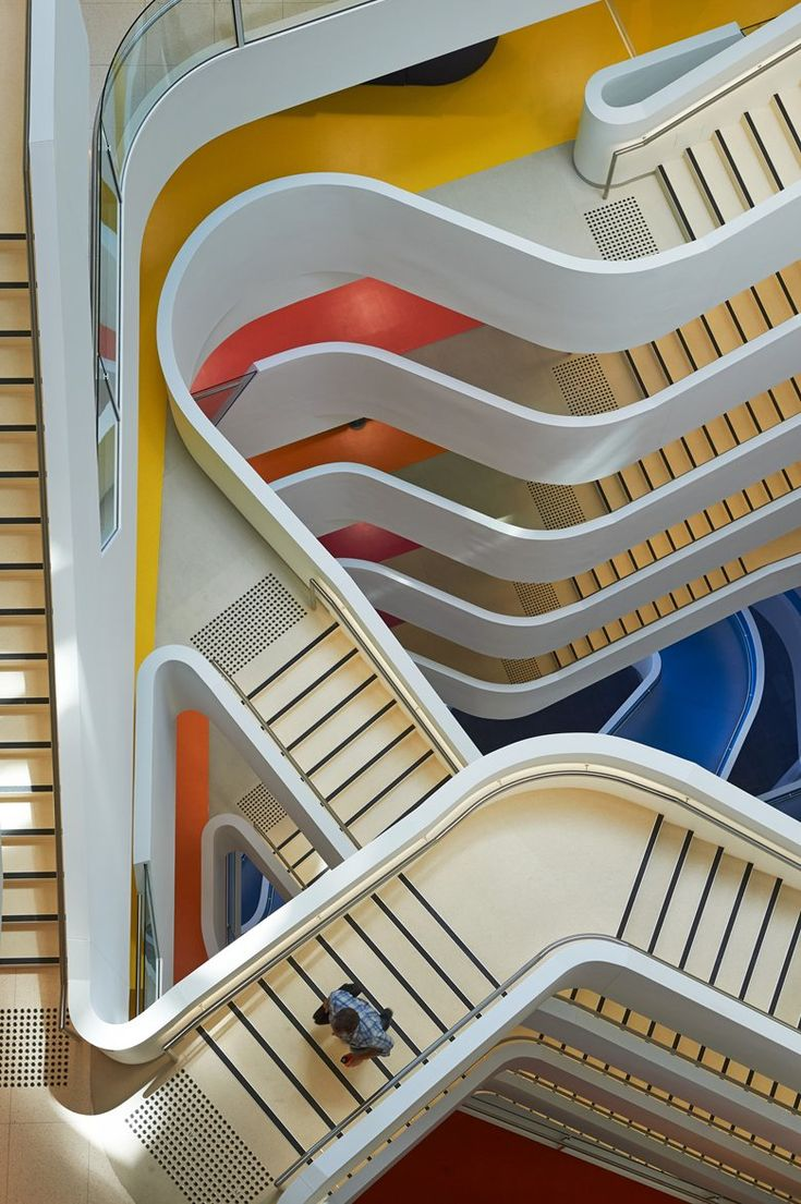 #Hassell's #office building for insurance company #Medibank is designed to create one of the healthiest workplaces in the world, with architecture expressing the idea of mobility and physical movement #staircases #perspective