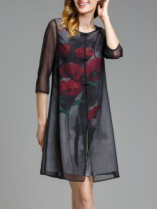 Black Floral Printed 3/4 Sleeve Crew Neck Midi Dress