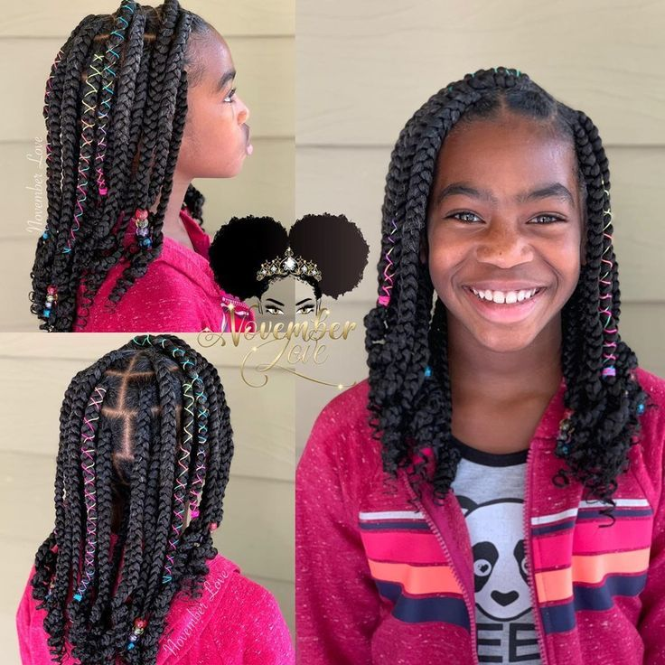 Large Knotless Box Braids for Kids! Tensionless Light Weight & Pain Free! #Knot