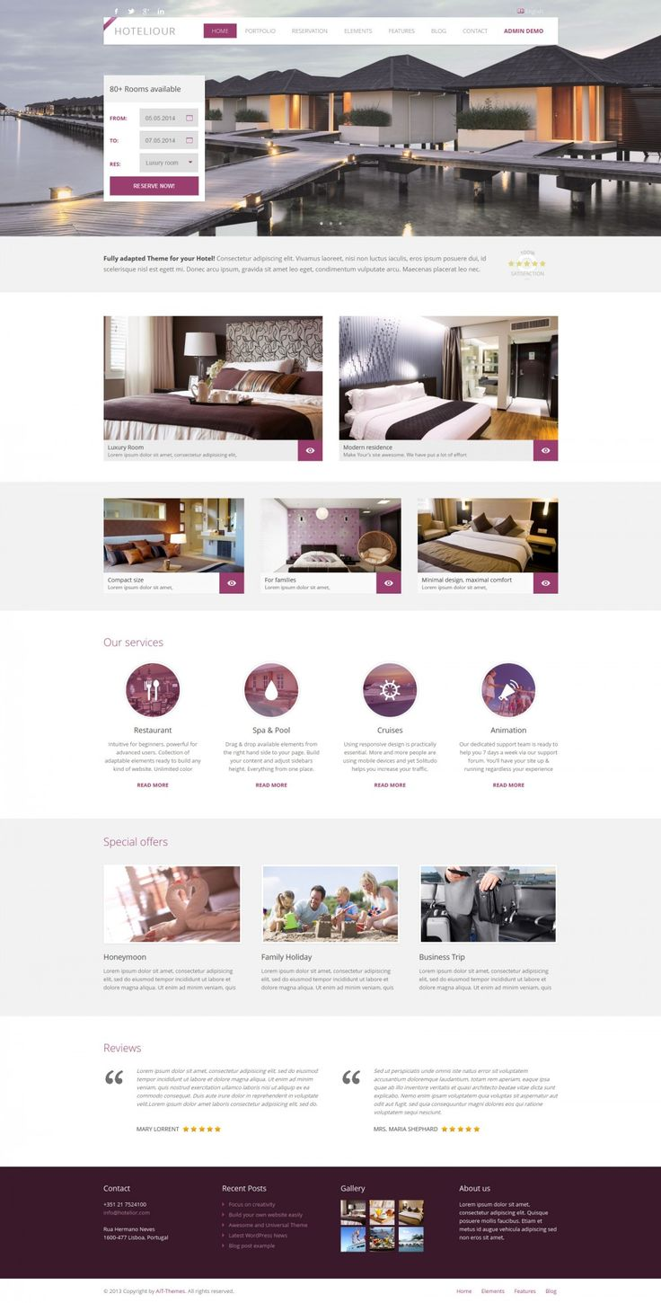 HOTELIOUR: #WORDPRESS #THEME FOR #HOTELS Your new amazing hotel website. Theme is specially developed and designed for accommodation providers, Hotel, BedBreakfast, Guest house, Inns, Apartments or Hostel. Sell your available rooms through your website. Room booking plugin with availability will serve your website visitors perfectly. Hoteliour WordPress theme converts visitors to customers.