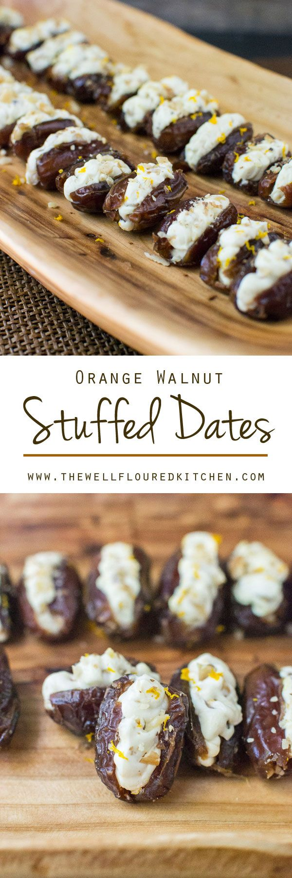 Dates stuffed with a lightly sweetened orange and honey cream cheese. Crunchy toasted walnuts make the perfect topping for this easy snack!