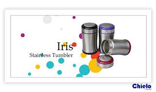 Tumbler type of Iris Size: 13 x 7.1 x 7.1cm Capacity: 320ml. Color: Black, Blue, Maroon It is a very stylish drink bottle, colorful and with a durable design. Very eye-cathcing.