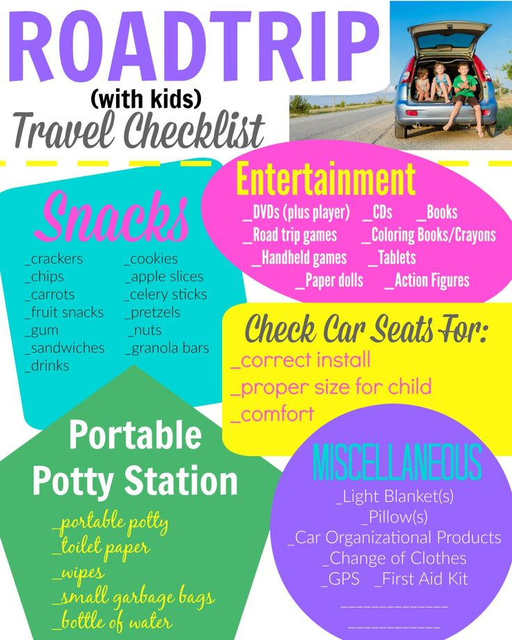 Road Trip Checklist - traveling with kids in the car. Activities and more for travel.