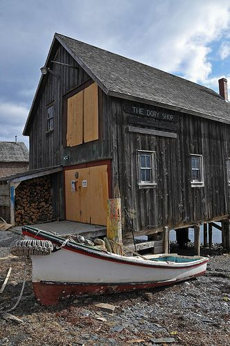 Dory Shop, Lunenburg, Nova Scotia...This is where my grandfather bought his dory so he and grandmother could go from Dayspring to Bridgewater by the LaHave River