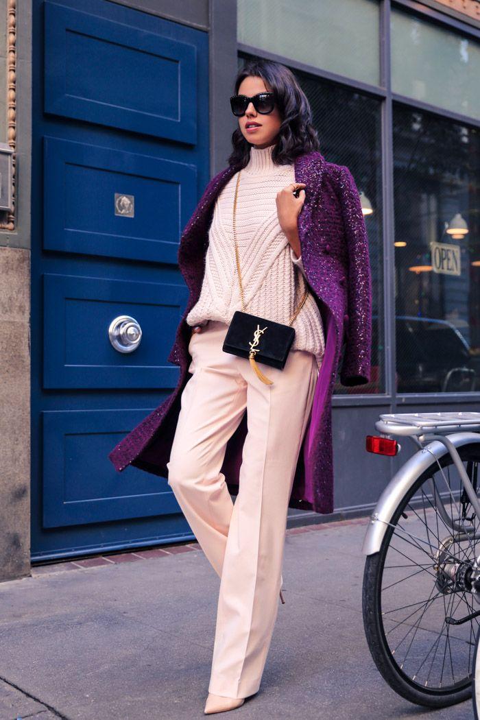 classic turtleneck with purple coat