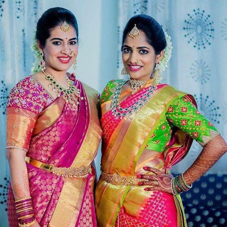 South Indian bride. Gold Indian bridal jewelry.Temple jewelry. Jhumkis. Pink and green silk kanchipuram sari.Side braid with fresh jasmine flowers. Tamil bride. Telugu bride. Kannada bride. Hindu bride. Malayalee bride.Kerala bride.South Indian wedding.