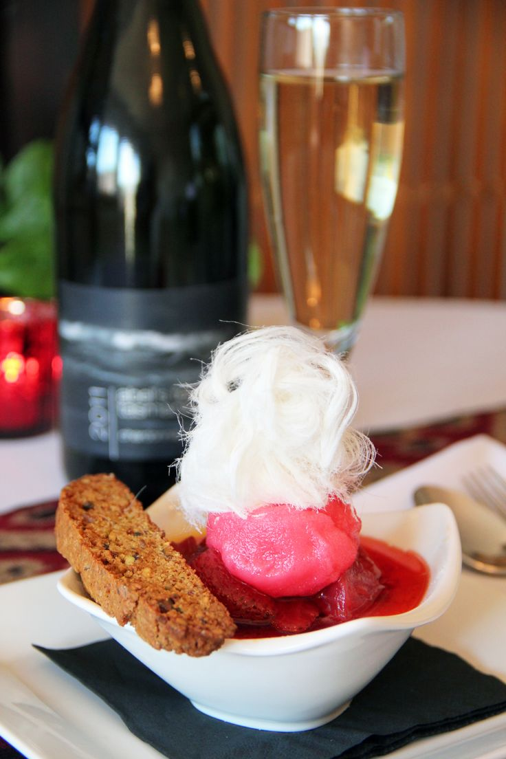 Who doesn't love dessert? Vanilla Bean Brulee - served with grand marnier strawberries, rose sorbet and pistachio biscotti. What do you think of this new dessert item? Has anyone tasted it yet? www.seasonsonruthven.com