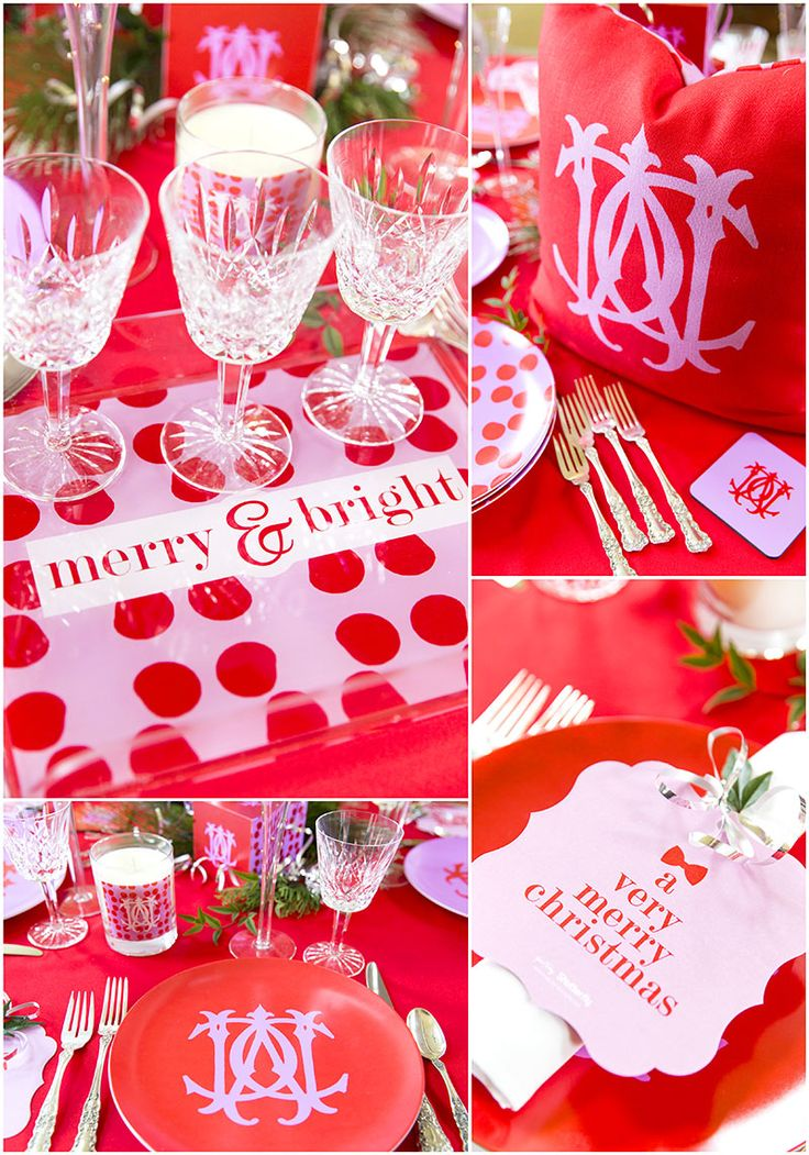 Pink & Red Monogram Christmas Tablescape, tips and ideas to recreate the  look! Pizzazzerie
