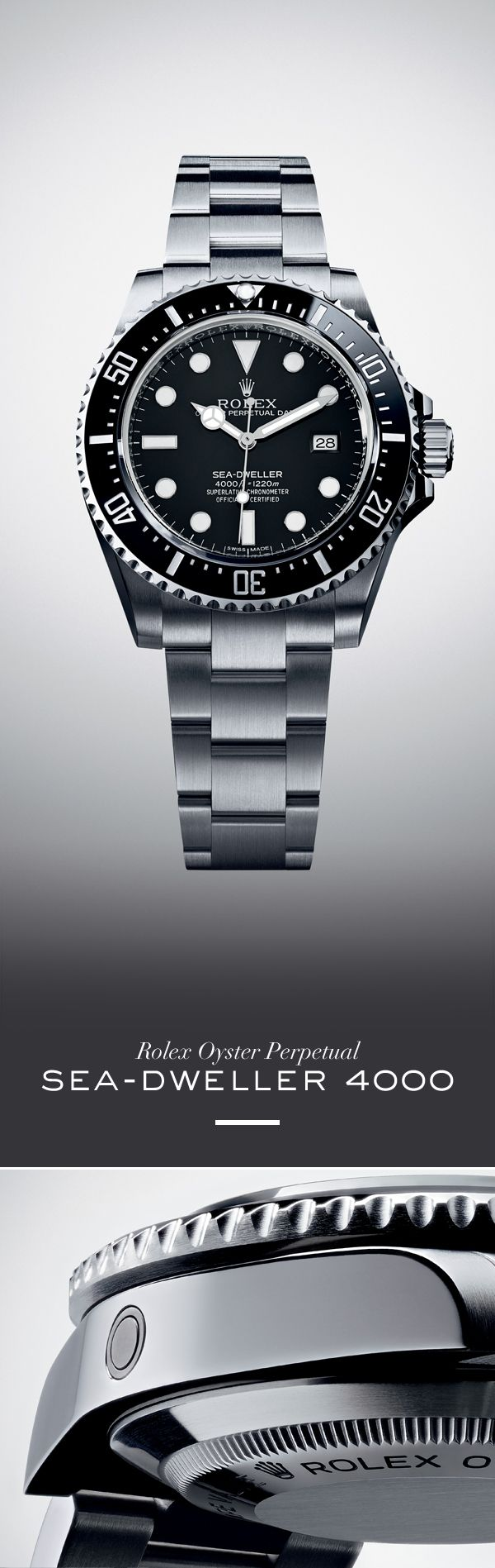 Rolex Sea-Dweller 4000 40 mm in 904L steel with a rotatable black Cerachrom bezel, black dial and Oyster bracelet.#RolexOfficial