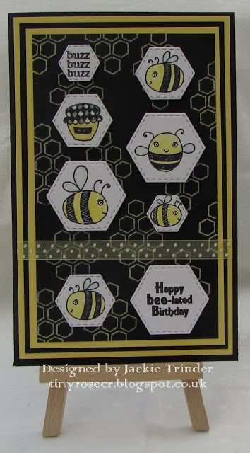 Tinyrose's Craft Room: Bee-lated Birthday made with stamps from the Isobel Craft Collection.