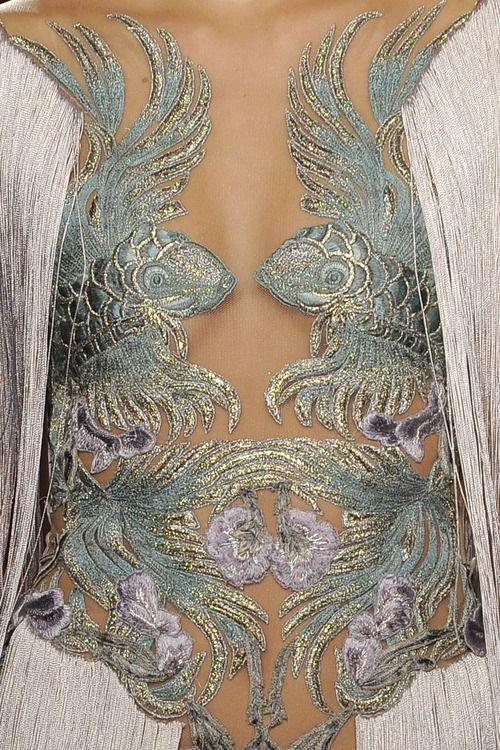 Marchesa S/S 2012:  Okay, this one doesn't actually look much fun to wear, but it's nice to look at.  Okay, it's not actually pretty - but the fish are cool.