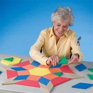 A creative activity for young and old. Large foam chunky shapes can be fitted together in any combination. Chunky, easy to grasp blocks are ideal for the elderly.