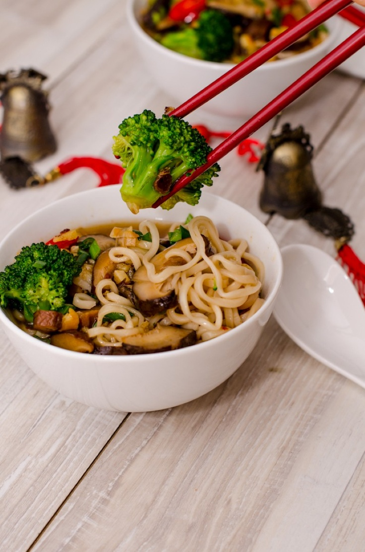 Andreea's Chinesefood blog: noodle soup with broccoli and shiitake mushrooms