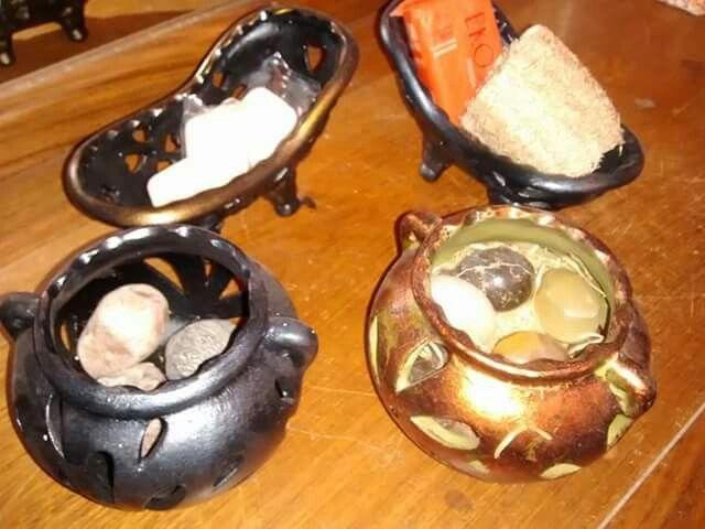 Porta velas y jaboneras envejecidas