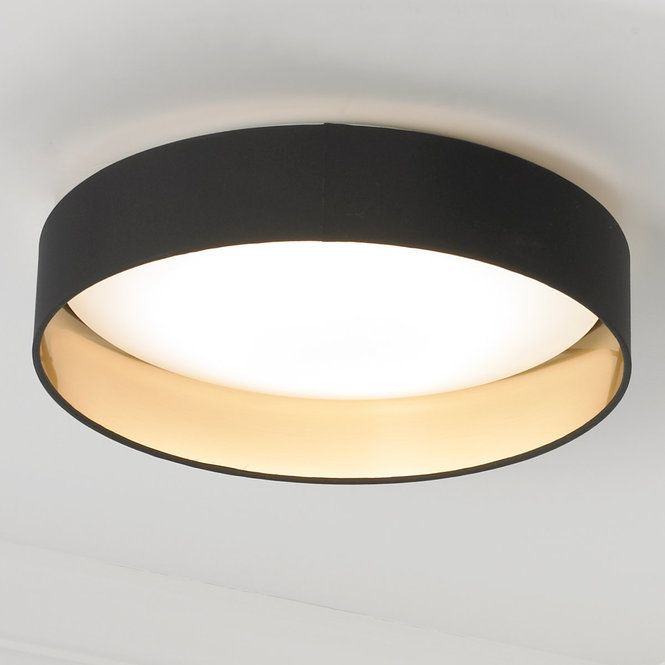 """Elegant simplicity defines this ceiling light, which features a dimmable LED lighting array within a white diffuser ringed by a two toned fabric shade. Available in Black with Gold inner, Cappuccino with Gold inner, and Gray with Silver inner finishes. 18 watt 1720 lumens, 3000 K LED array included. (4.12""""Hx16""""W) Canopy (1.25""""Hx5""""W)."""