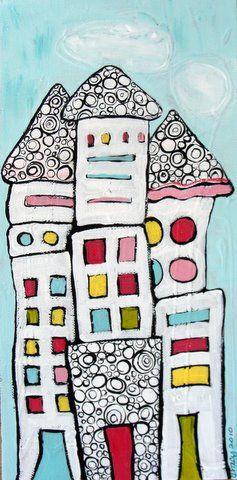 maison texturée colorée