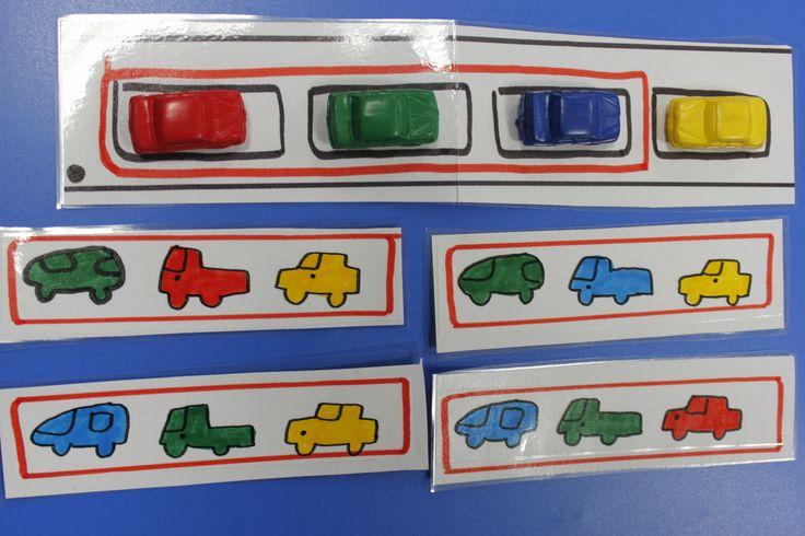 """MS (fin) et GS le """"défi voitures"""" : jeu duel. on déplace deux voitures à la fois (échange) pour reproduire son modèle carte (attention, 3 images sur la carte, mais 4 sur la planche avec les véhicules à déplacer)"""