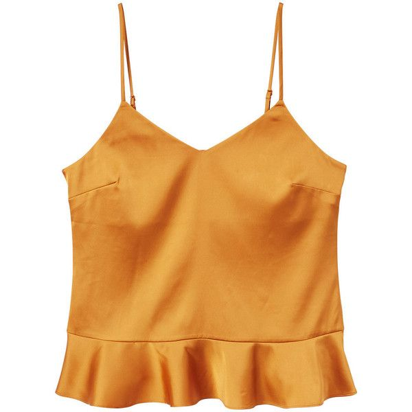 Frilled Satin Top ($26) ❤ liked on Polyvore featuring tops, v neck ruffle top, frill top, v-neck tops, yellow top and satin top