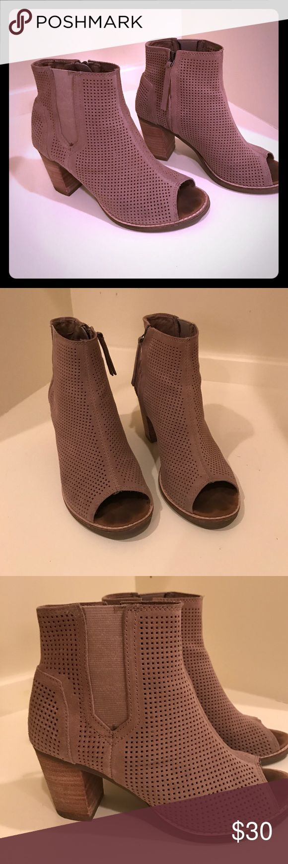 """Toms open toe booties in tan Great neutral shoe. Sueded leather 3"""" block heel. Very comfortable. These run a half size to a size big. TOMS Shoes Ankle Boots & Booties"""