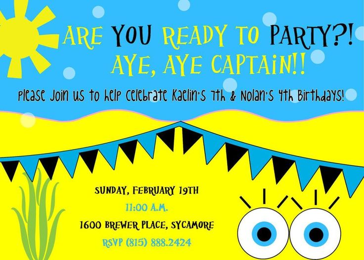 80 best bikini bottom luau images on pinterest | birthday party, Invitation templates