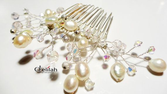 Wedding Hair Accessory Wedding Hair Comb Bridal Hair Comb Pearl and Crystal Wedding Hair Comb Bridal Hair Accessory Ivory Pearl Hair Comb