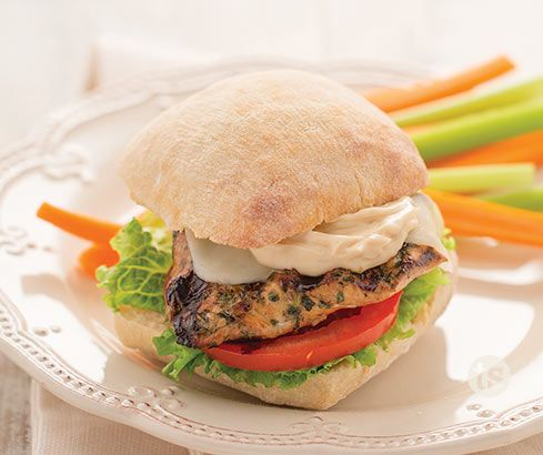 Bruschetta Chicken Sandwiches Recipe │Grilled chicken loaded with balsamic mayonnaise, tomato slices and lettuce on a toasted ciabatta roll. Perfect weeknight dinner.
