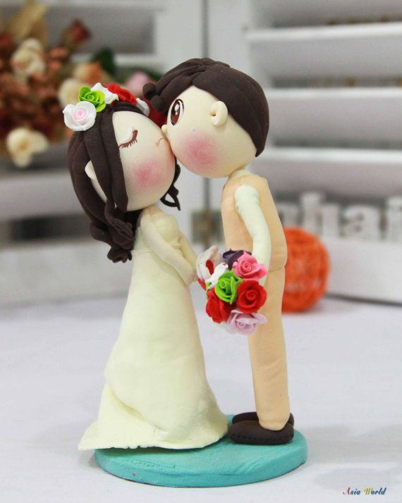 $65------Wedding Cake topper, First kiss wedding clay couple, engagement clay miniature decoration, clay rings holder, clay doll, clay figurine