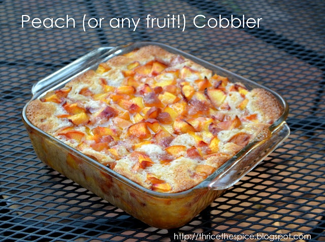 One of my very favorite recipes ever! Great with fresh picked or frozen fruit. Peaches, blackberries, & cherries are my family's favorites!  Peach (or any fruit!) Cobbler