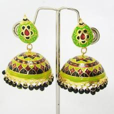 This meenakari tokri jhumki is made up on a copper base framed in a circular form. The tokri is polished in high gold and covered in meenakari / enameling in multiple colors. The tokri is edged with pearl finish color seeds. The top part of the earring is governed by a specific shaped pendant which is also enameled in similar manner as that of tokri.