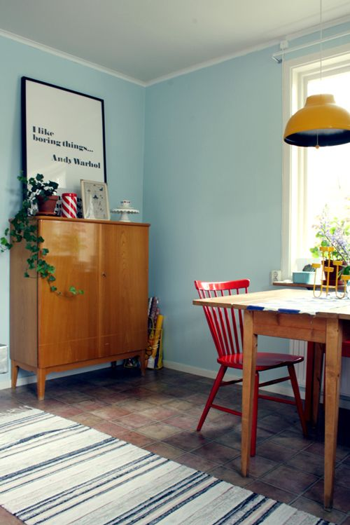 Porcelain Enamel Pendant Light in a Swedish Retro Cottage | Blog ...