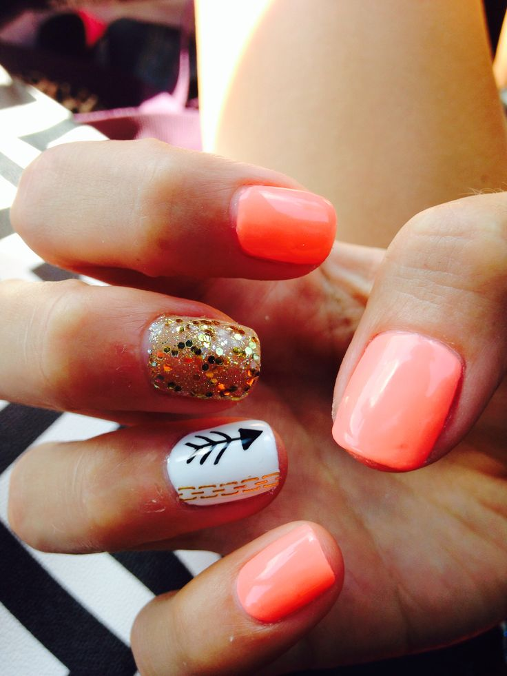 17 Best Ideas About Coral Nails Gold On Pinterest