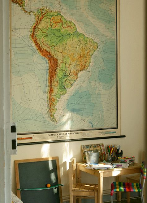 decorating with mapsIdeas, Indoor Decor, Kids Stuff, American Maps, Vintage Maps, South America, Kids Room, Maps Decor, Diy Stuff