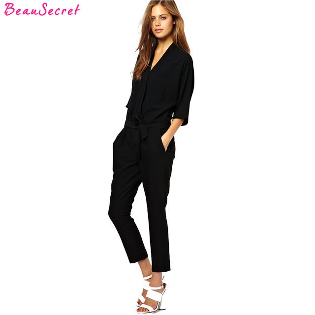 Best Deals $16.00, Buy European and American fashion elegant lace chiffon jumpsuits piece pants 2017 summer autumn rompers womens jumpsuit black blue