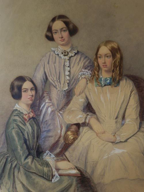 L to R: Charlotte, Emily and Anne Bronte: who wrote amongst others: Jane Eyre (Charlotte(, Wuthering Heights (Emily) and The Tenant of Wildfell Hall (Anne).