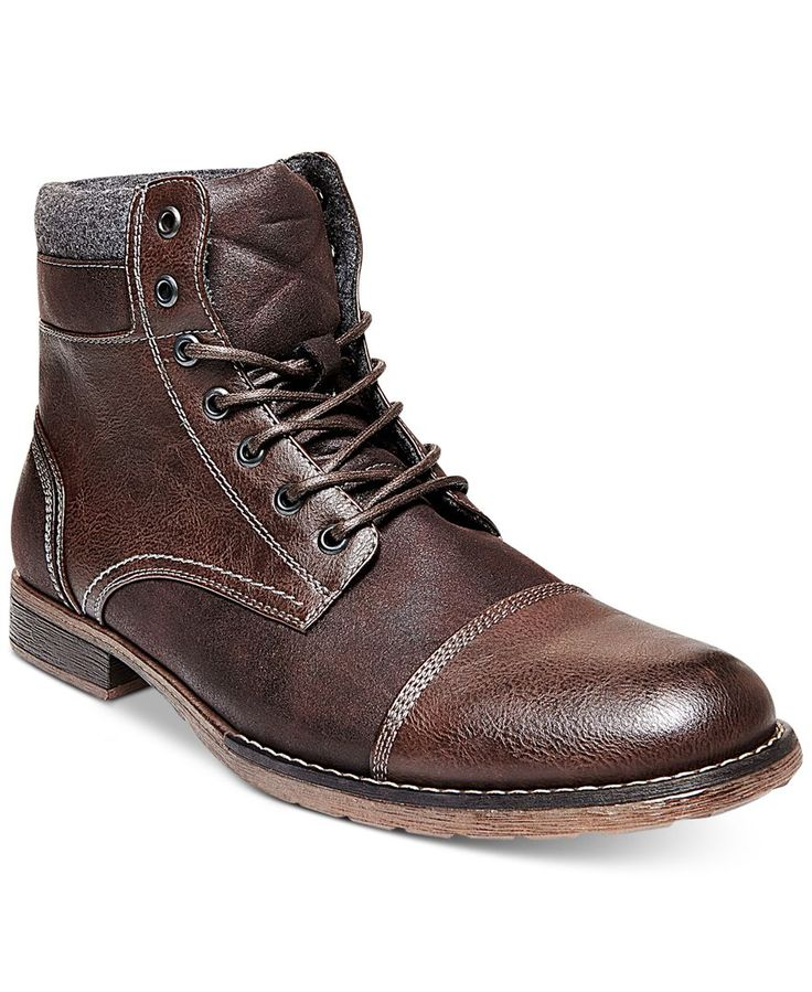 Steve Madden helps you look great and keep out cool weather chill with these warmly lined cap toe boots. | Synthetic upper; man-made sole | Imported | Cap toe | Lace-up closure with metal eyelets | Li