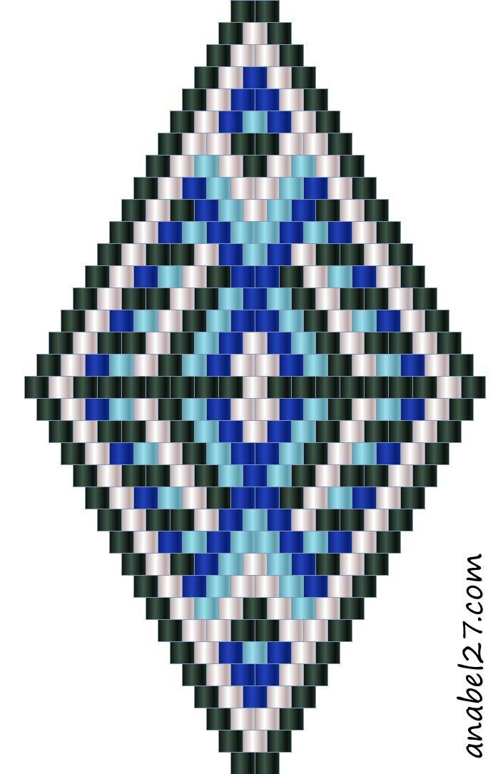 Схемы Сережек Ромбиков, Beads