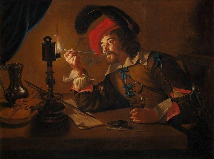 Jan ter Borch, (Buren 1610/1620 - werkzaam 1634/1642) Soldaat die zijn pijp aan een olielamp aansteekt (1630 - 1642, Museum Boijmans van Beuningen Rotterdam)
